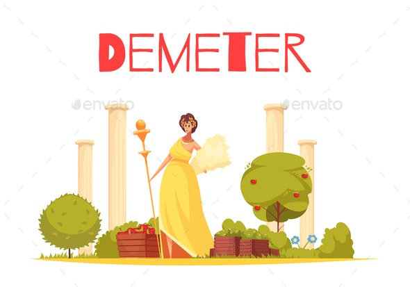 Demeter Cartoon Composition - People Characters