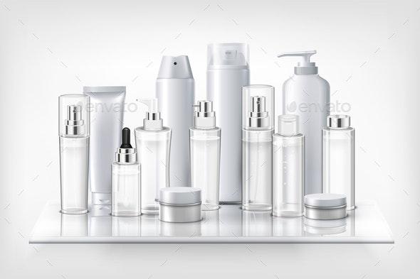 Cosmetics Bottles on Shelf - Miscellaneous Vectors