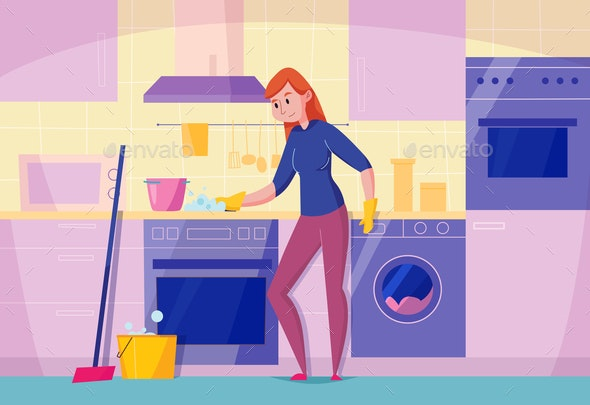 Kitchen Cleaning Flat Composition - People Characters
