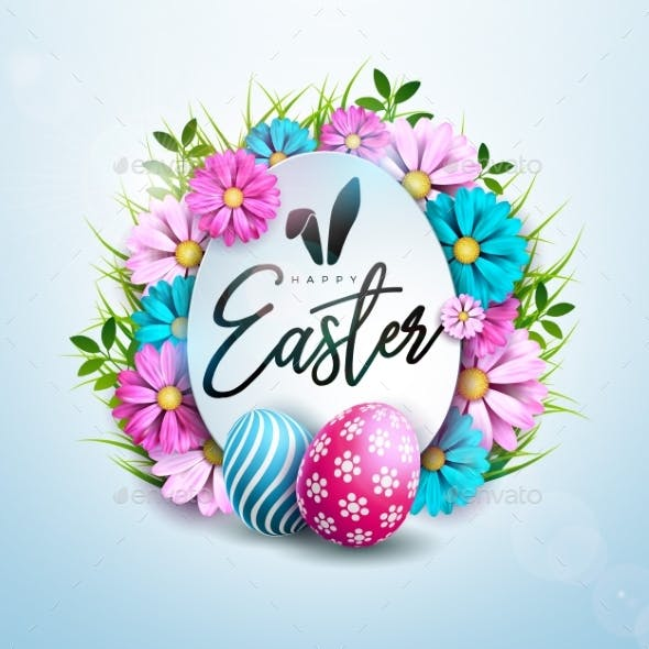 Happy Easter Holiday Design with Painted Eggs