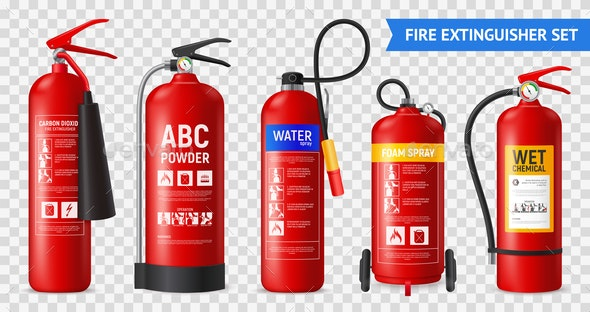 Realistic Fire Extinguishers Set - Industries Business