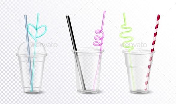 Plastic Glasses Set - Food Objects