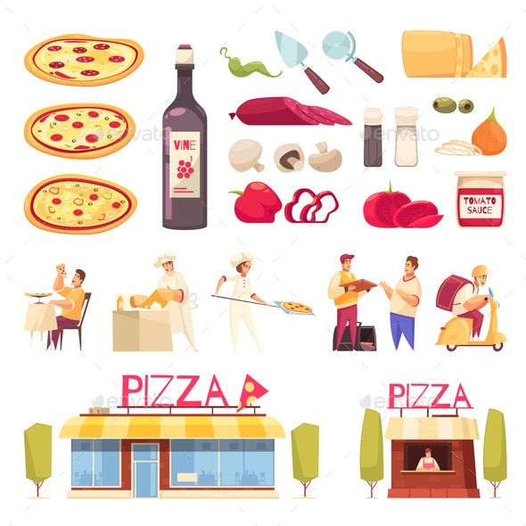 Pizza Icon Set - Food Objects
