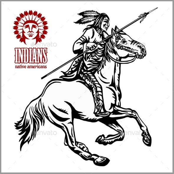 Native American - Rider on Horse - Miscellaneous Vectors
