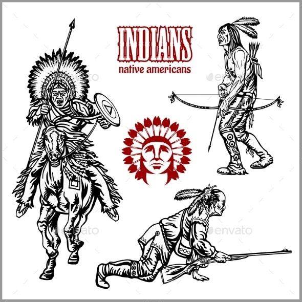 American Indians Set of Vintage Emblems - Miscellaneous Vectors