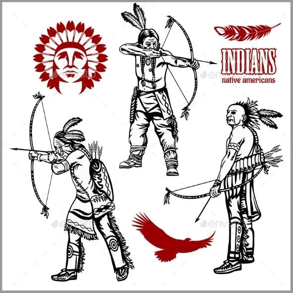 American Indians Set of Vintage Emblems