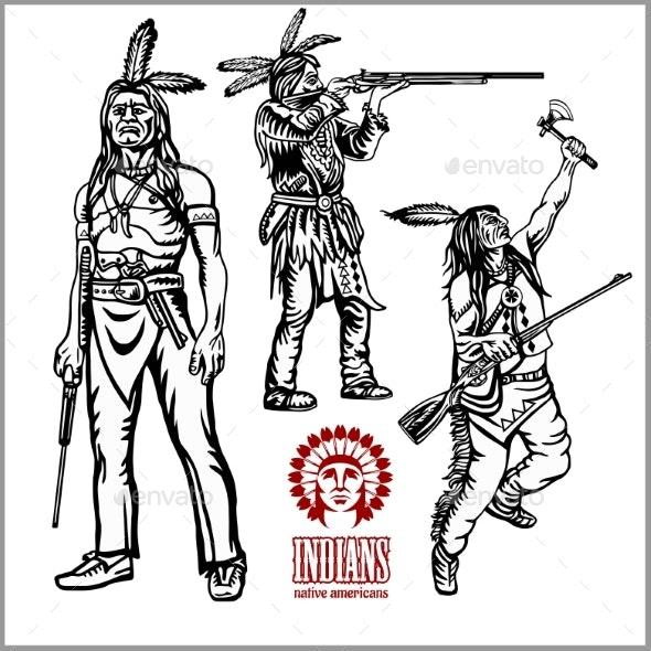 American Indians Set of Vintage Emblems - People Characters