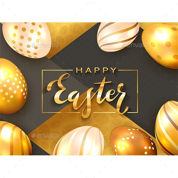 Golden Lettering Happy Easter with Eggs - Miscellaneous Seasons/Holidays