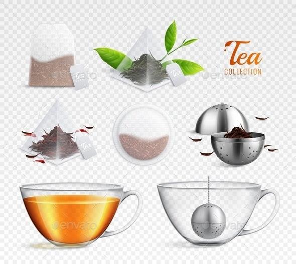 Tea Brewing Bag Realistic Transparent Icon Set - Miscellaneous Vectors