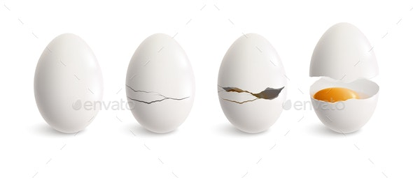 Cracking Egg Realistic Icon Set - Food Objects