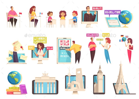 Learning Language Training Center Icon Set - People Characters