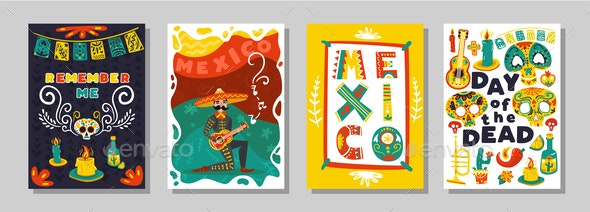 Day Dead Mexican Posters Set - Miscellaneous Seasons/Holidays