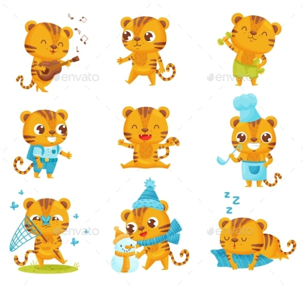 Collection of Little Tigers on White Background - Miscellaneous Vectors
