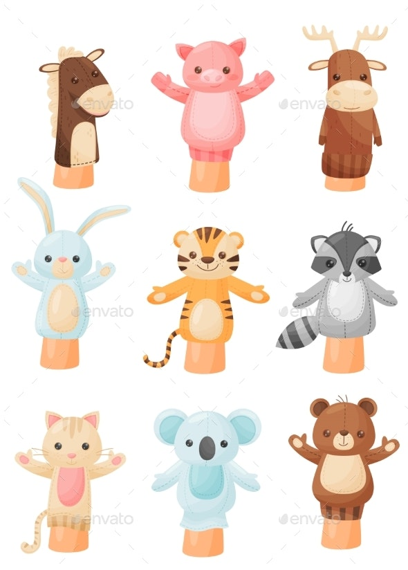 Collection of Dolls on Hand on White Background - Animals Characters
