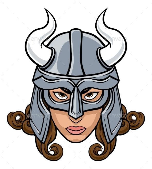 Viking Woman Warrior Mascot - People Characters