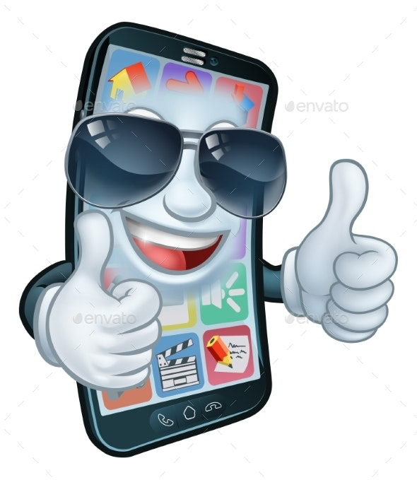 Mobile Phone Cool Shades Thumbs Up - Miscellaneous Characters