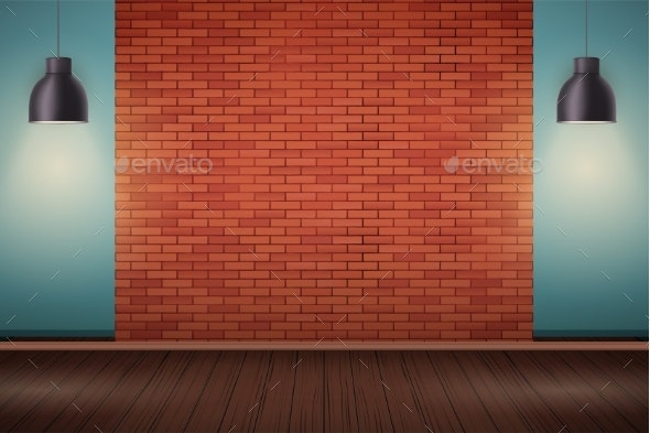 Red Brick Wall Room with Billboard - Backgrounds Decorative