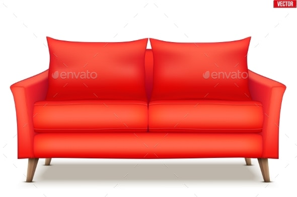 Modern Red Soft Sofa - Man-made Objects Objects