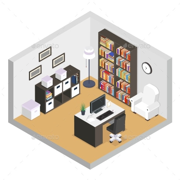 Working Cabinet Isometric Modern Furniture Room - Man-made Objects Objects