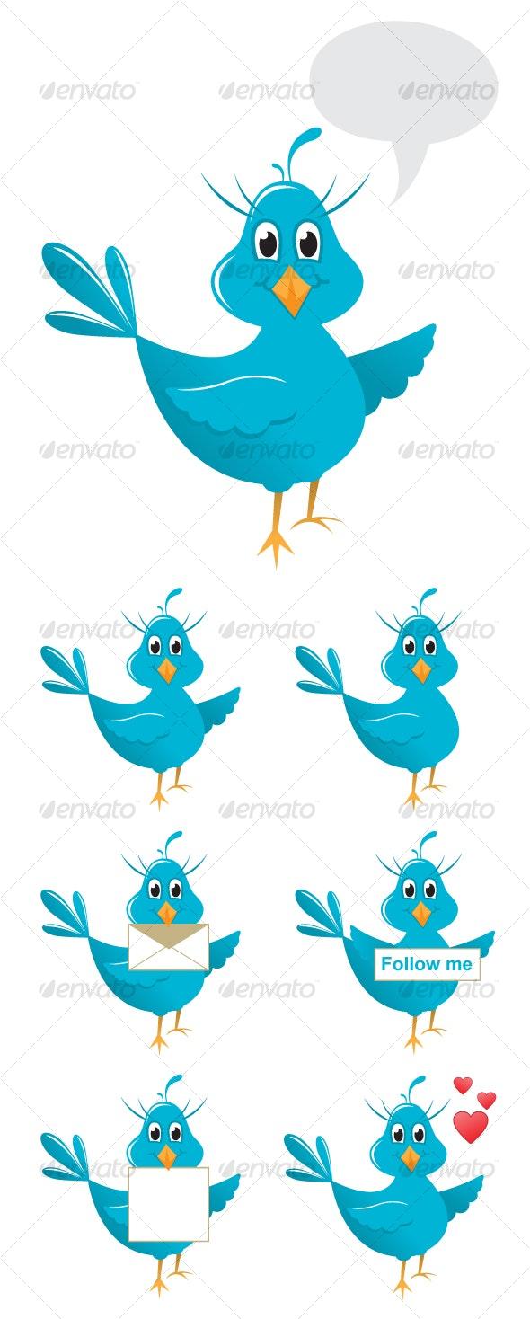 Vector cute twitter bird - Characters Vectors