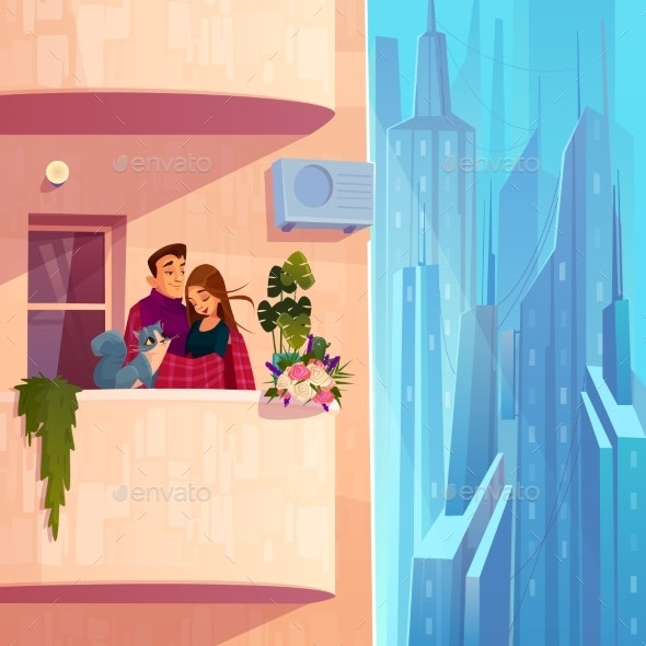 Couple Resting on Apartment Balcony Cartoon Vector - Buildings Objects