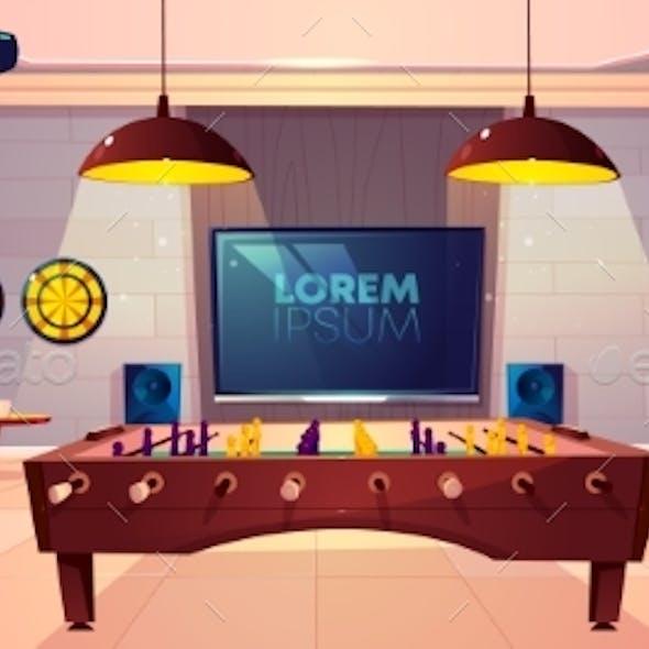 Recreation Room in Home Basement Cartoon Vector