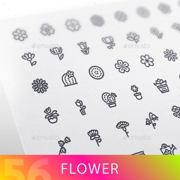 Flower Line Icons Set