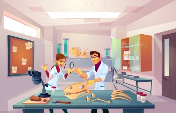 Scientists Studying Fossils in Laboratory Vector - People Characters