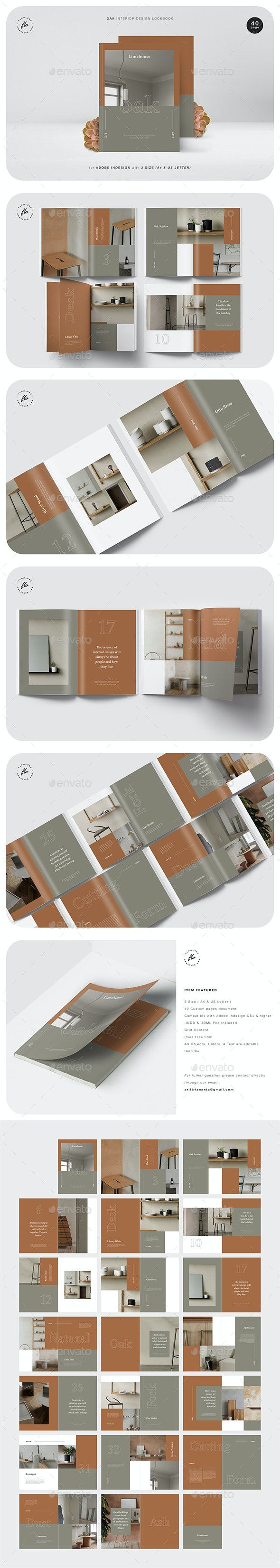 Oak Interior Design Lookbook - Magazines Print Templates