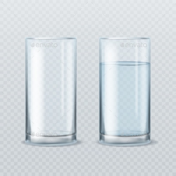 Realistic Water Glass - Food Objects