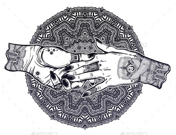 Couple Holds Tattooed Hands Witchcraft - People Characters