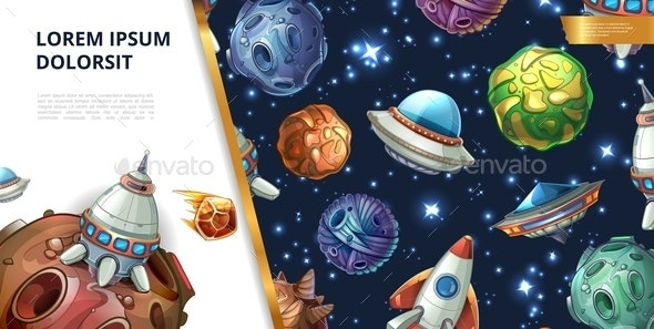 Cartoon Colorful Space Concept - Miscellaneous Vectors