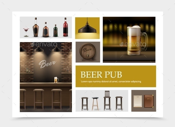 Realistic Pub Elements Set - Industries Business