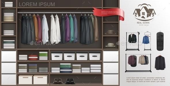 Realistic Male Wardrobe Room Modern Concept - Miscellaneous Vectors