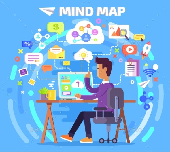 Mind Map of Character at Computer Illustration - Miscellaneous Conceptual