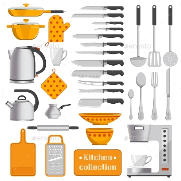 Kitchen Collection of Tableware and Appliances - Man-made Objects Objects