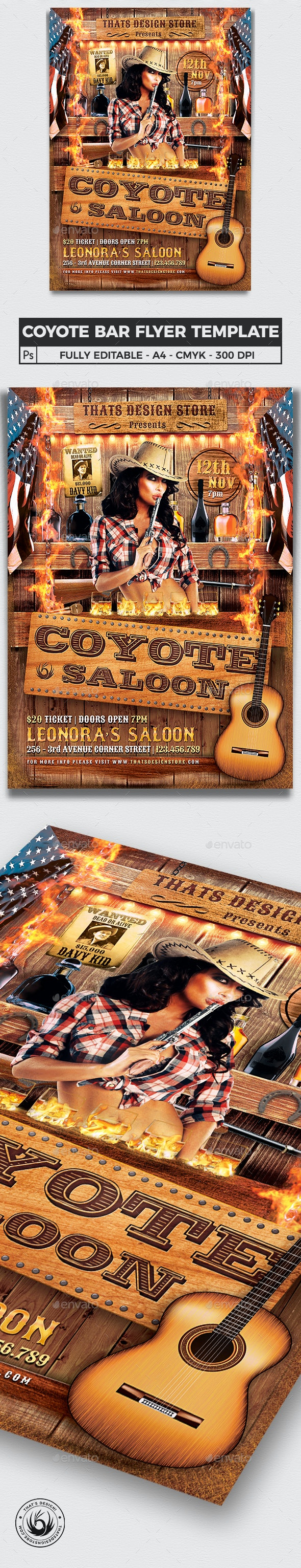 Coyote Bar Flyer Template - Clubs & Parties Events