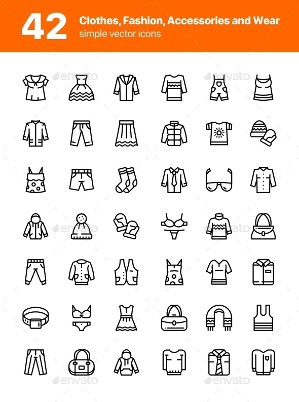 42 Clothes, Fashion, Accessories and Wear Icons Set - Man-made objects Objects