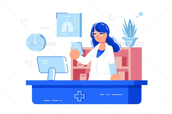 Woman Pharmacist Reading Recipe - Health/Medicine Conceptual