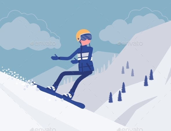 Active Sporty Man Riding on Snowboard - Sports/Activity Conceptual