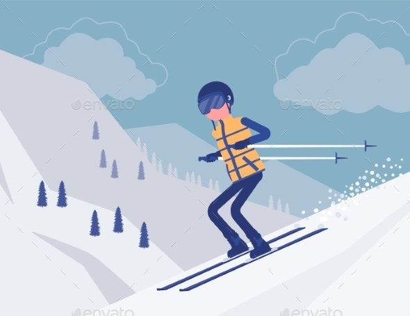 Active Sporty Man Skiing Downhill - Sports/Activity Conceptual