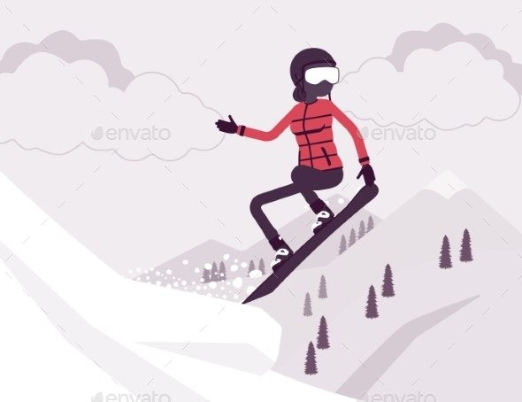 Active Sporty Woman Riding Snowboard Jumping - Sports/Activity Conceptual