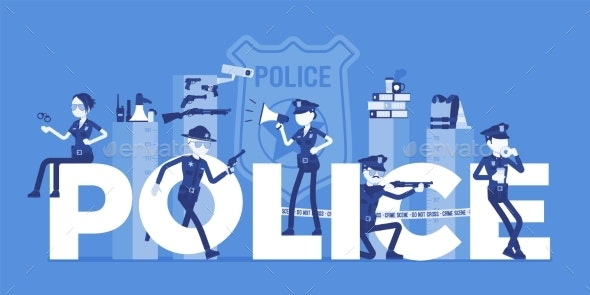 Police Giant Letters with Officers - People Characters