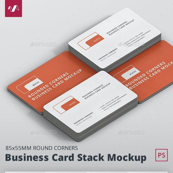 Business Card Mockup Stack Round Corners