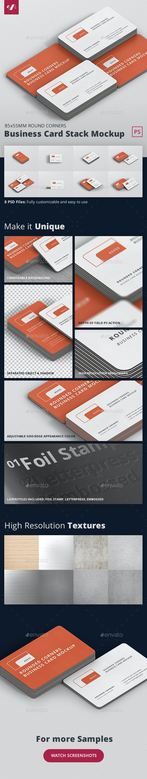 Business Card Mockup Stack Round Corners - Business Cards Print