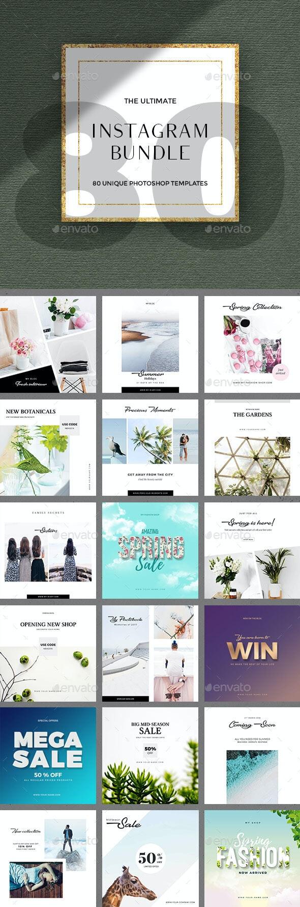 80 Instagram Posts - Bundle - Social Media Web Elements