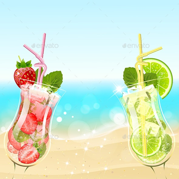 Refreshing Cocktails on the Beach Background - Backgrounds Decorative