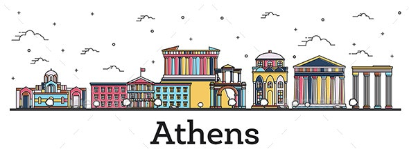 Outline Athens Greece City Skyline with Color Buildings - Buildings Objects