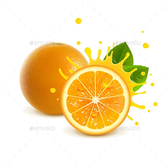 Juicy Whole Orange and Half Orange - Food Objects