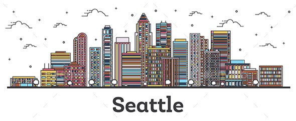 Outline Seattle Washington City Skyline with Color Buildings - Buildings Objects